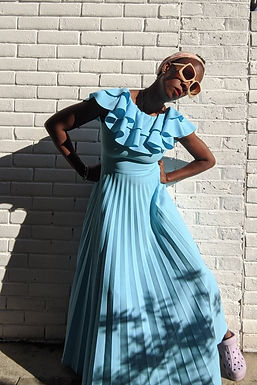 vintage 1970s Pastel Blue Ruffle neck pleated maxi dress XS