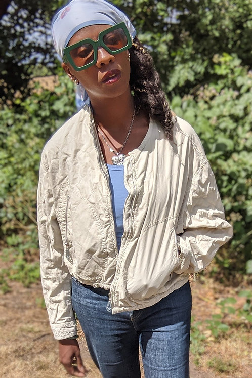 vintage cream ARMANI JEANS quilted light bomber jacket