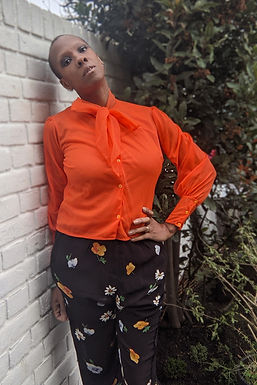 Vintage 60s Orange pussybow blouse