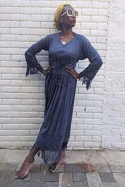 Stunning 1970s Blue Embroidery Fringe Tassel Maxi dress