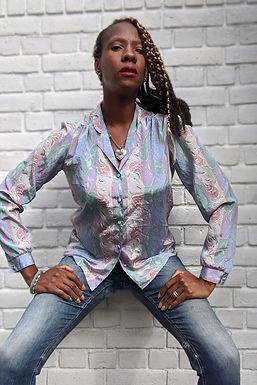 vintage 90's Pastel Art deco print blouse