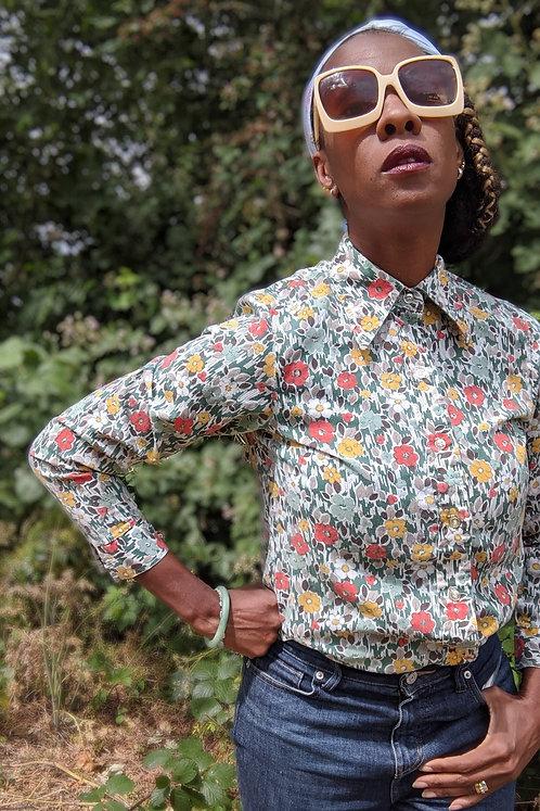 Vintage 1970s floral print shirt M