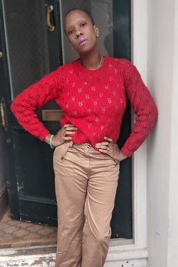 Cute vintage red mohair jumper SM