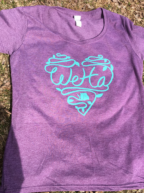 Women's WeHa t-shirt purple with blue heart