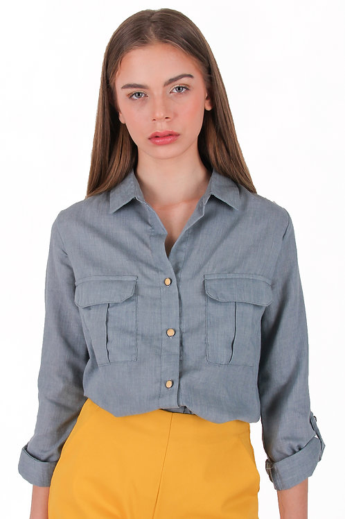 Cotton Silk Collar Blouse with Pockets
