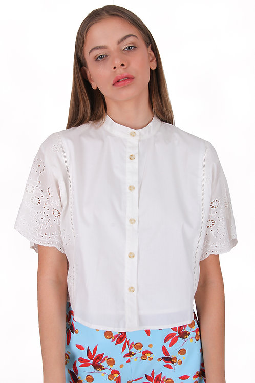 Cotton Embroidery Crop Blouse