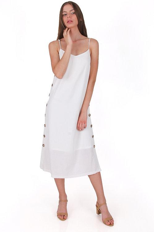 Linen Ttop Dress with Buttons