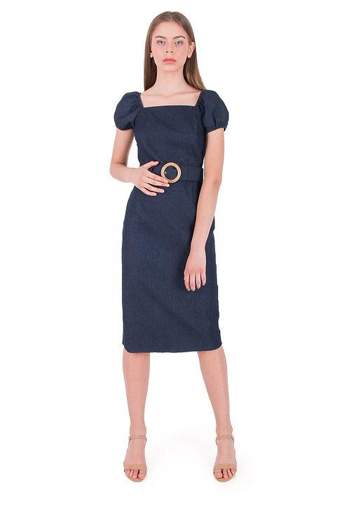 Square Neck Denim Dress+ Belt