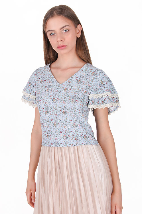 Print Sifone Blouse with Layer Sleeve