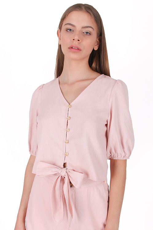Linen Blouse with Knot