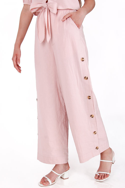 Linen Cullote Pant with Buttons