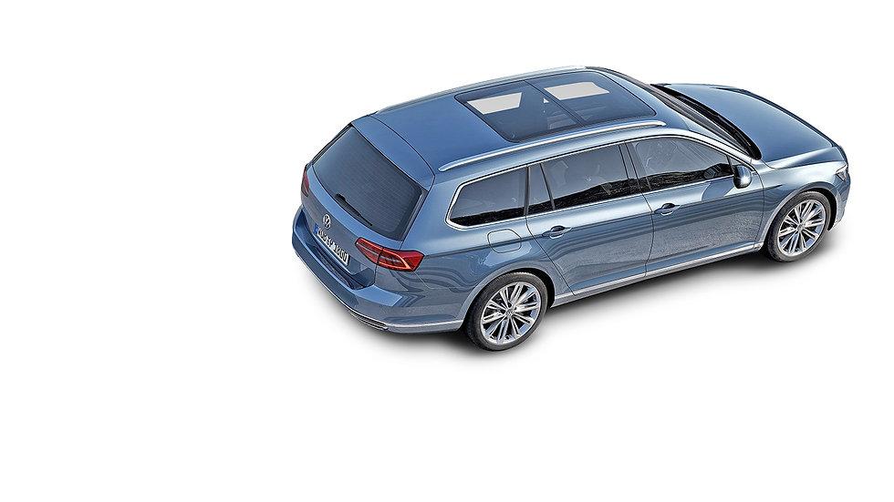 VW passat bovenaf blauw metallic opening