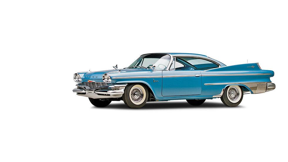 Dodge Polara blauw zijkant en voorzijde