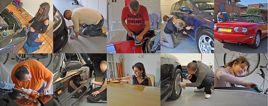 Allemaal verschillende mensen met hun eigen auto op de cursus auto poetsen en polijsten.pn