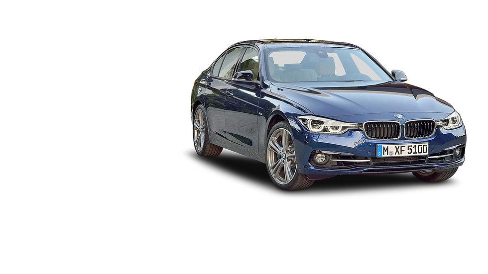 BMW 3 serie blauw voor en zijkant openin