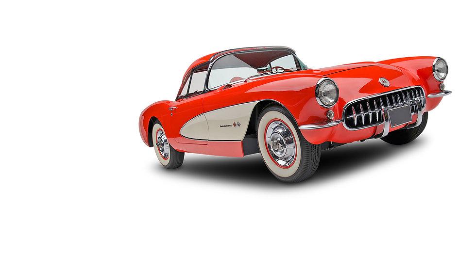 Chevrolet Corvette C1 1959 rood met wit.
