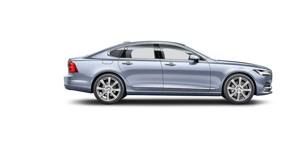 Volvovo S90 zijkant blauw metallic openi