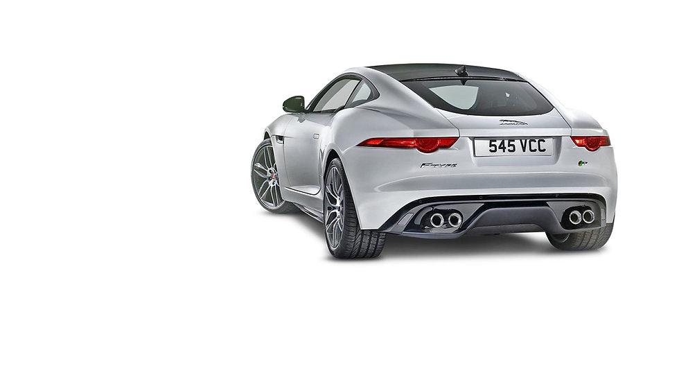 Jaguar F type wit achterzijde en zijkant