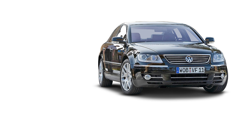 VW Phaeton zwart voorzijde en zijkant ge
