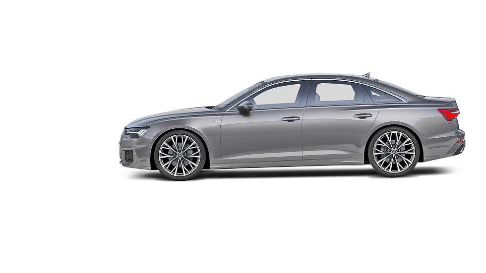 Audi A6 zijkant grijs metallic nieuw ope