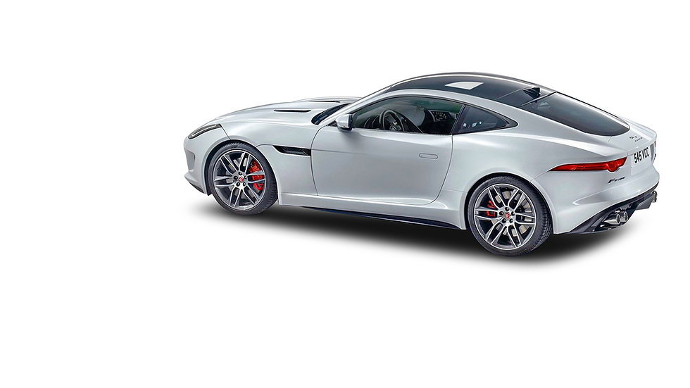 Jaguar Ftype zijkant wit gestuurde voorw