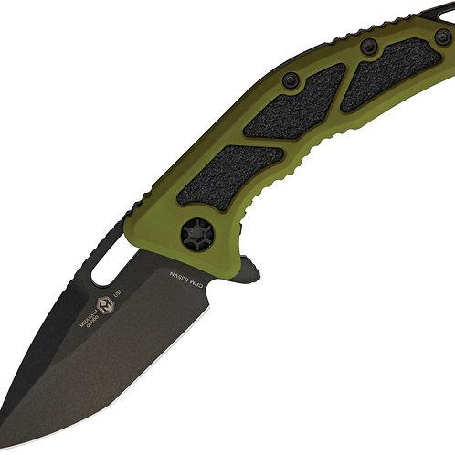 Heretic Knives Medusa Flipper Knife Tanto / Grn-Blk Cerekote