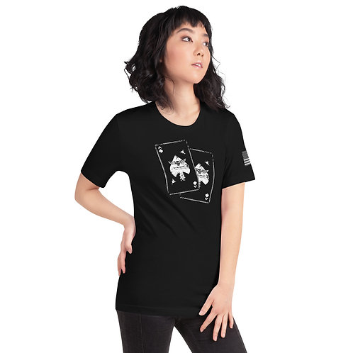 PTKSMFLA Death Card (DISTRESS) Short-Sleeve Unisex T-Shirt