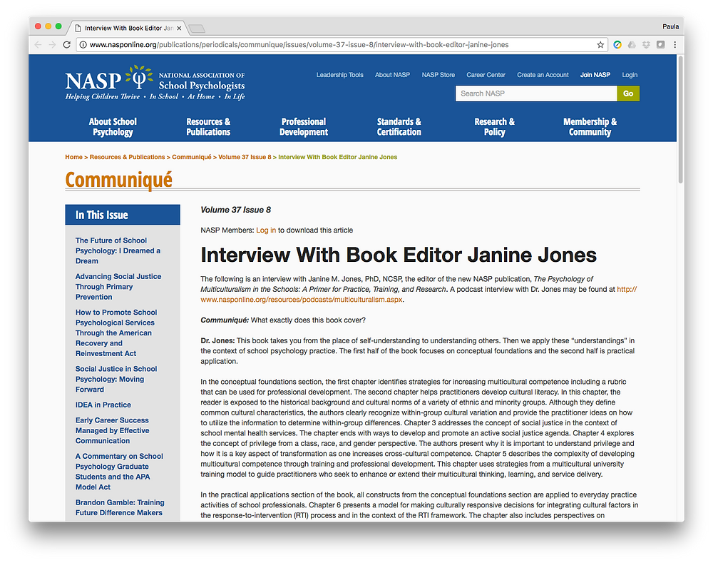 NASP: Dr. Janine Jones Interview with Author