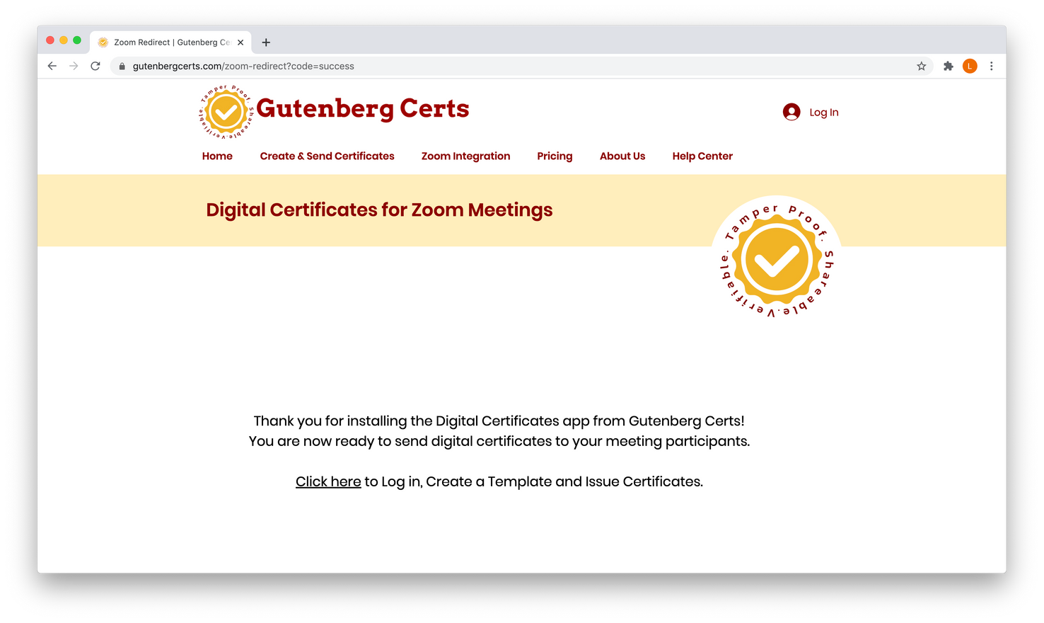 Now, you will be directed to create an account in Gutenberg Certs.