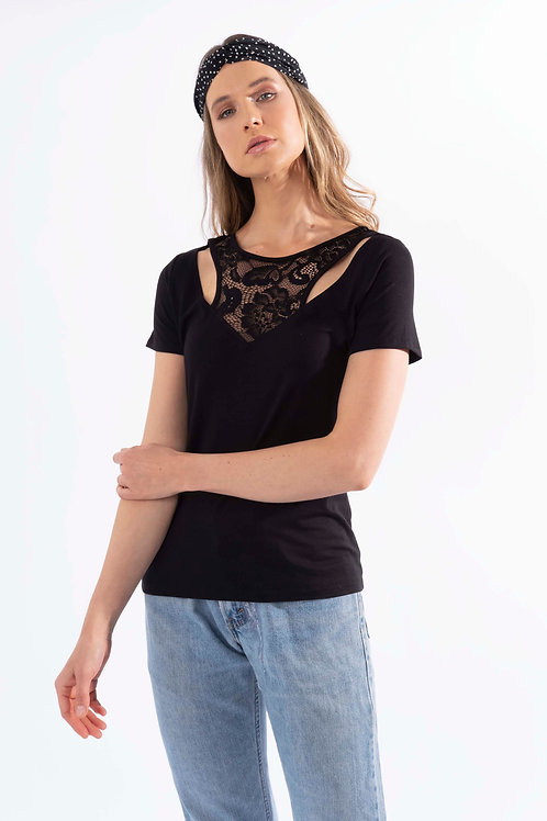 Cut-Out V-Neck Short Sleeve Top