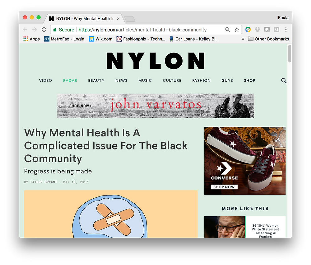 Carolyn Coleridge on mental health in Nylon Magazine