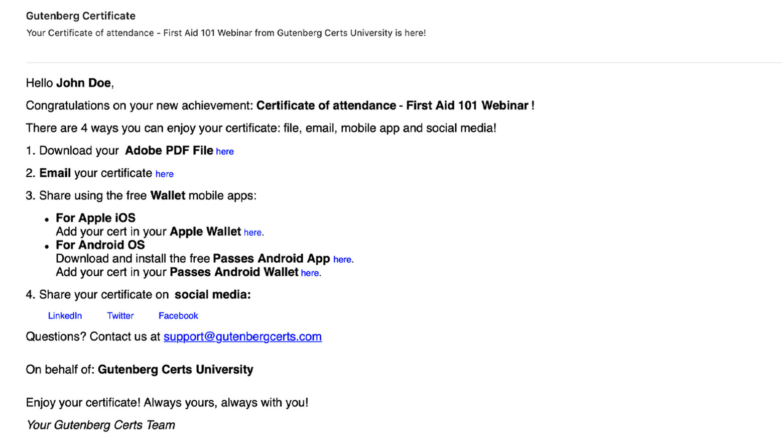 Within minutes, Recipients receive an email notification with download and share instructions.