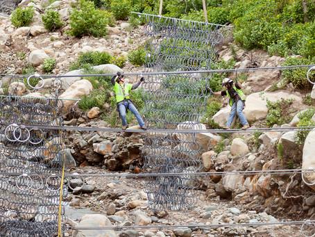 Steel-Mesh Debris Net Being Installed