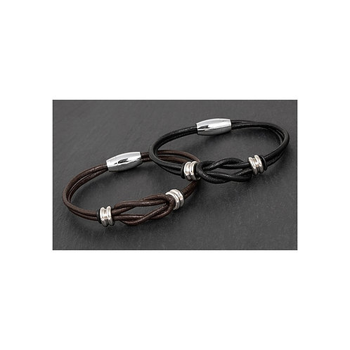 Equilibrium for Men Knotted Black/Brown Leather Bracelet