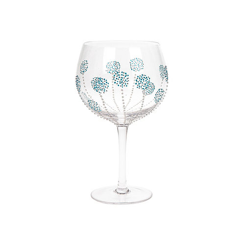 Teal Burst Hand Decorated Gin Glass