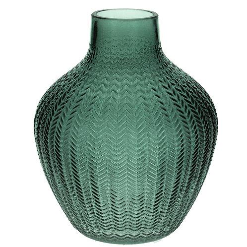 Green Ribbed Glass Vase