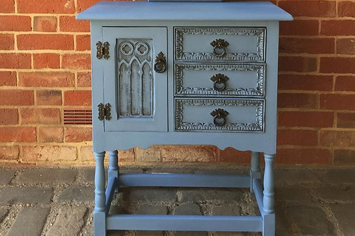 Small Greek Blue and Graphite Painted Oak Cabinet
