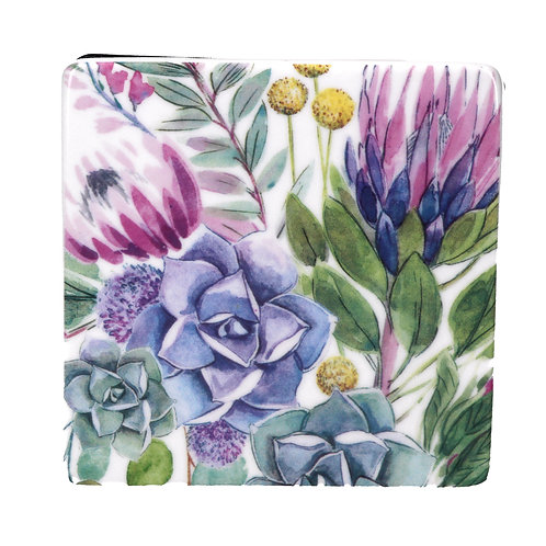 Desert Blooms Square Ceramic Coaster