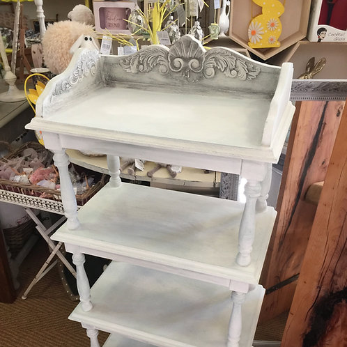 Old White Painted 4 Tier Shelf Unit