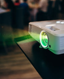 LCD video projector at business conferen