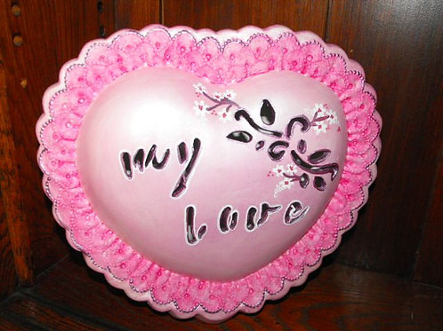 Lg. Heart with Hand Cut Message