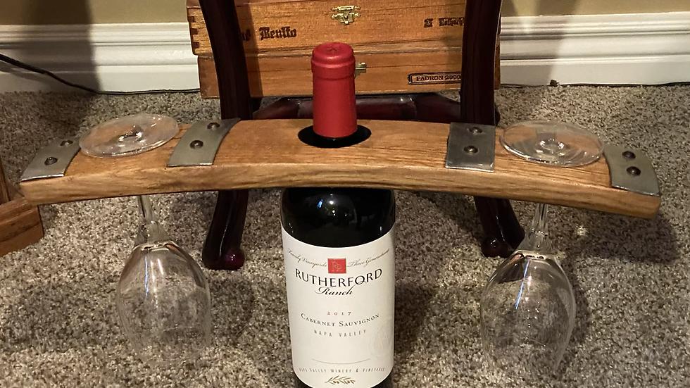 Whiskey Barrel Stabe Wine Glass Holder