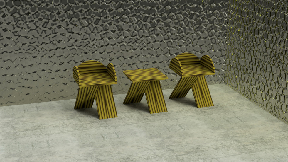 Zig Zag Chairs, Zig Zag Table