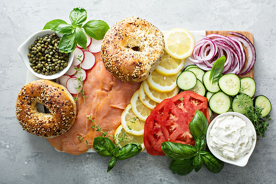 Bagels and lox platter for breakfast wit
