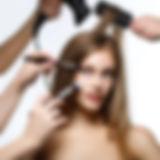 beautiful girl getting hair and makeup.j