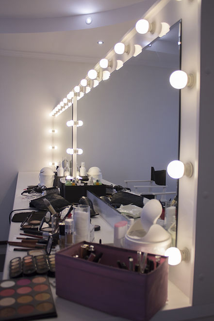 Cosmetics before visage in beauty salon