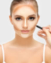 Contouring.Make up woman face. Contour a