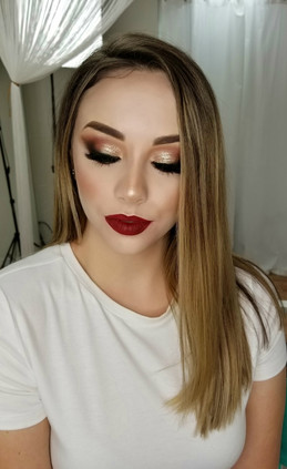 Holiday shimmer eyes with Red lips