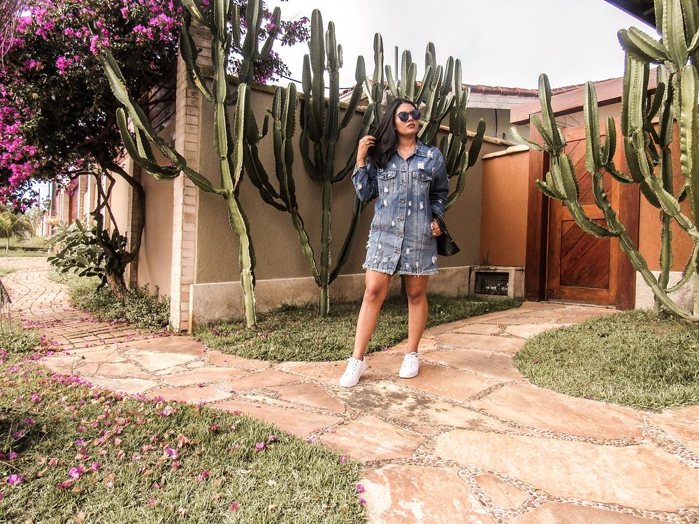Jaqueta Oversized jeans como vestido - Look do dia