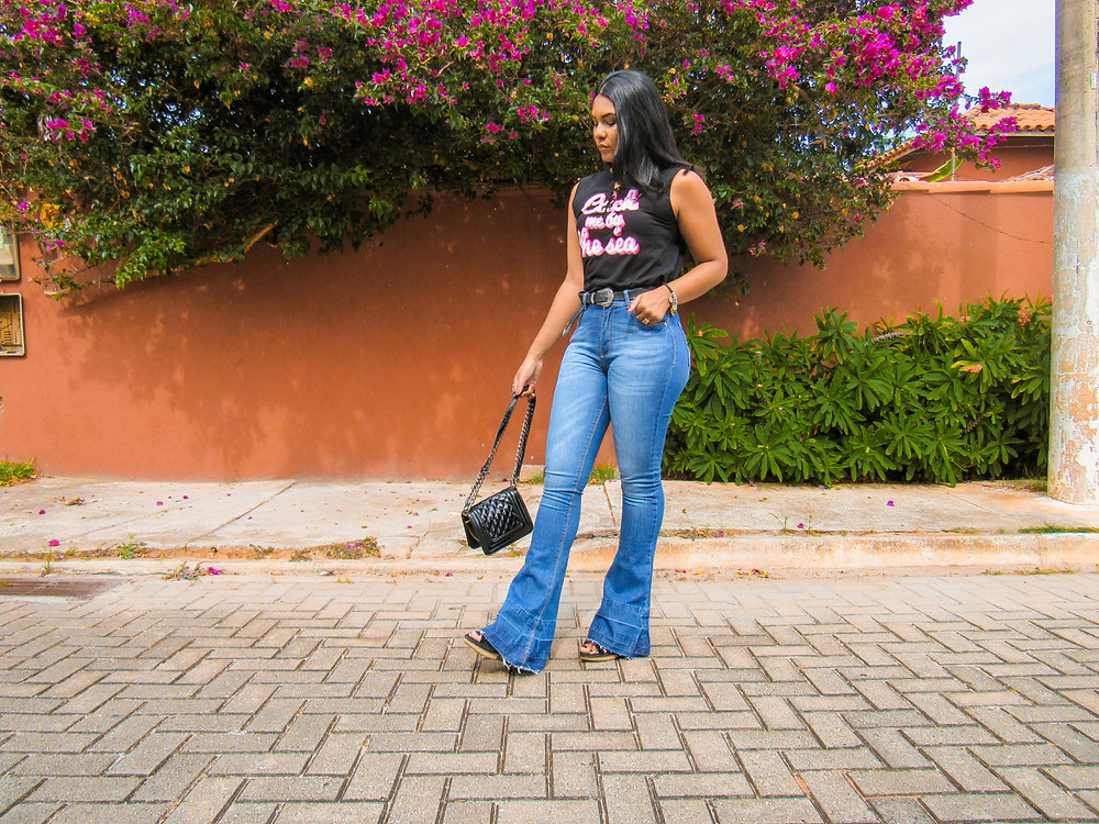 Look do dia - T-shirt e flare